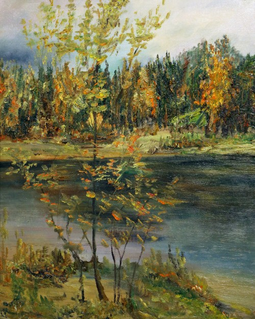 осень, река, деревья, желтые листья