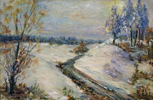 снег, дорога, деревья